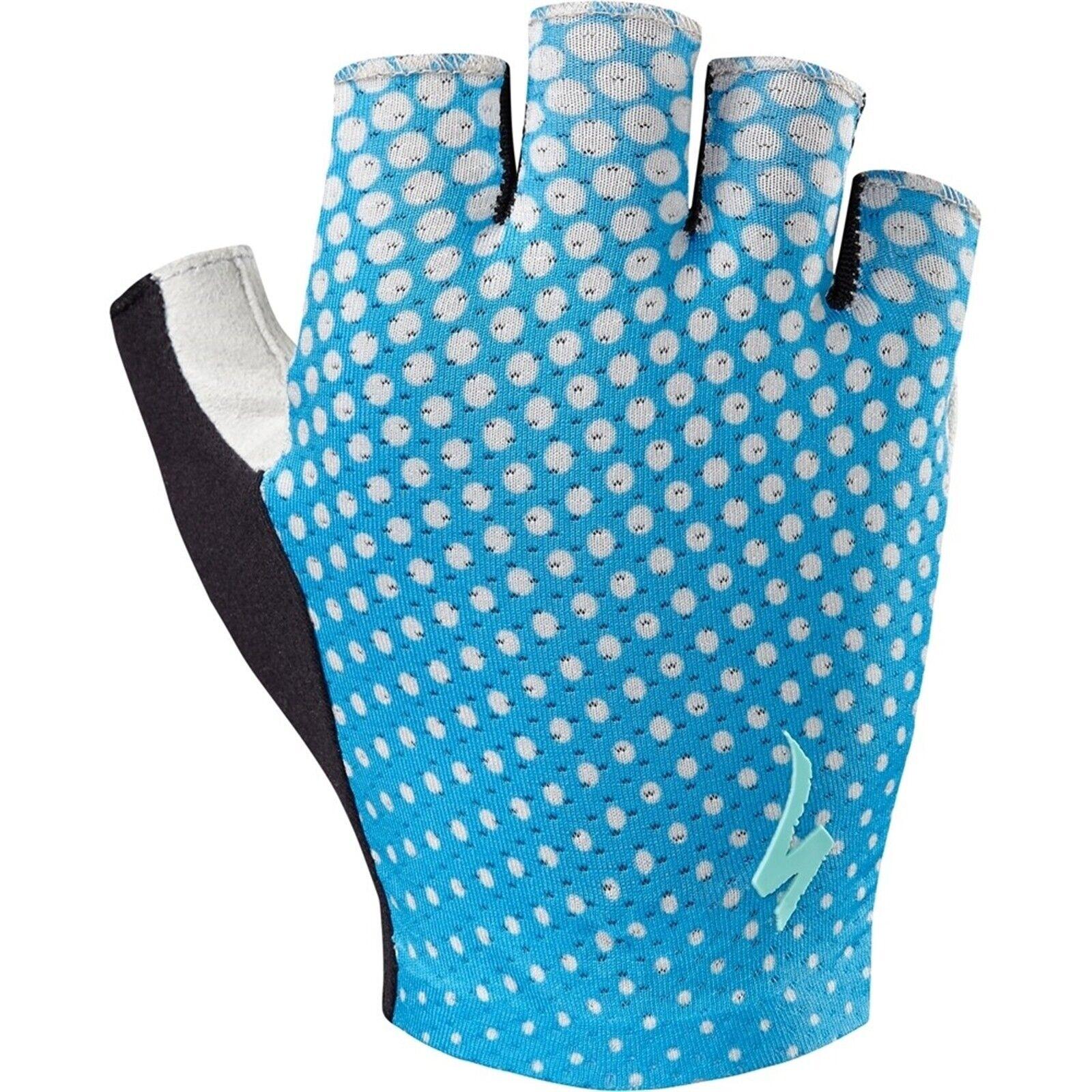Specialized Women/'s Short-Fingered Grail Gloves 2018-Neon Blue//Geo Crest-Medium
