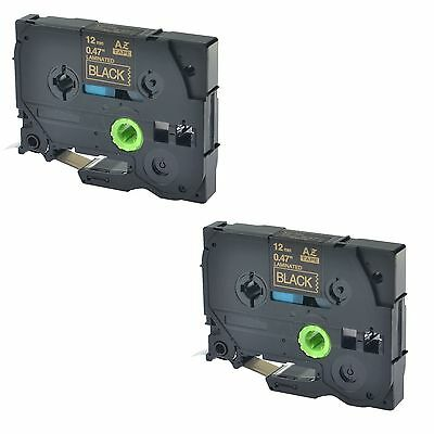2pk Tze334 Tz334 Gold On Black Label Tape For Brother P-touch Pt-1890w 12