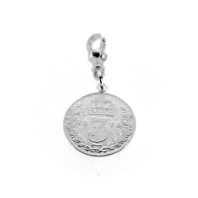 Sterling Silver 1899 Three Pence Coin Pocket watch Albert Chain Fob Charm