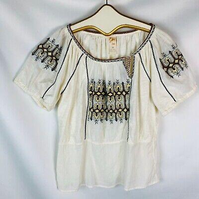 Anthropologie C.Keer Women's Top Shirt size medium short sleeve beige cotton