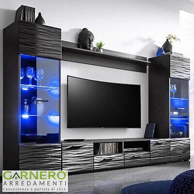 Parete attrezzata DANA Gihome ® nero opaco/lucido mobile porta tv con led RGB