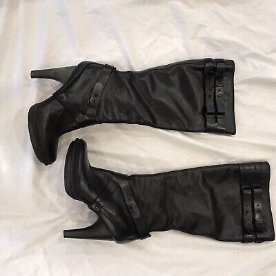 Women's Tsubo Boots Black Leather High Heal Platform Size 9