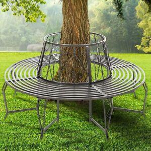 Delightful FoxHunter Outdoor Garden Tree Bench Round Circular Steel Vintage Seat Grey  GTB01