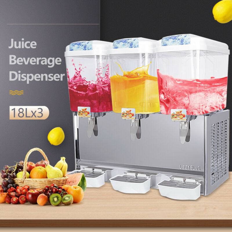 3 Tanks 14.25 Gal Commercial Cold Beverage Dispenser Stainless Steel Fruit Juice