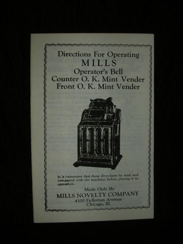 MILLS OPERATORS BELL SERVICE & PARTS MANUEL FOK MINT VENDER MILLS