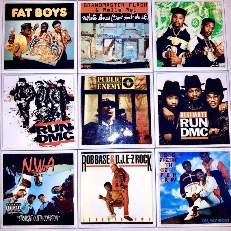DIY 9 Handmade Coasters Album Covers CLASSIC RAP HIPHOP NWA Public Enemy Run DMC