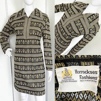 Vintage 1960s 1970s Horrockses Metallic Jersey Stripe Mini Dress Mod M L (14-16)