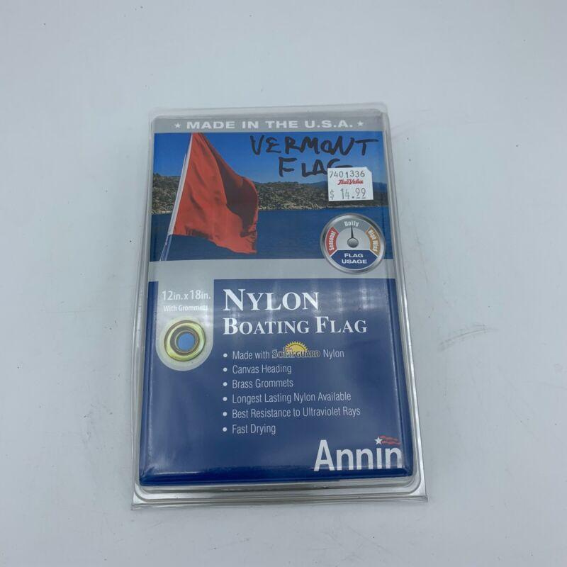 "Annin Vermont Nylon Boating Flag 12""x18"" NEW"