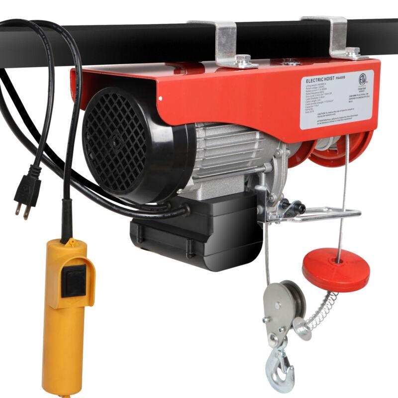 880 Lb Electric Cable Hoist Crane Lift Garage Auto Shop Winch W/Remote 110V