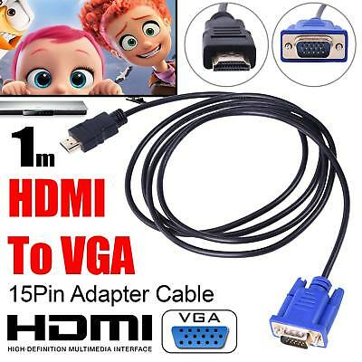 1m HDMI to VGA Male Video Adapter Cable Lead for HDTV PC Computer Monitor