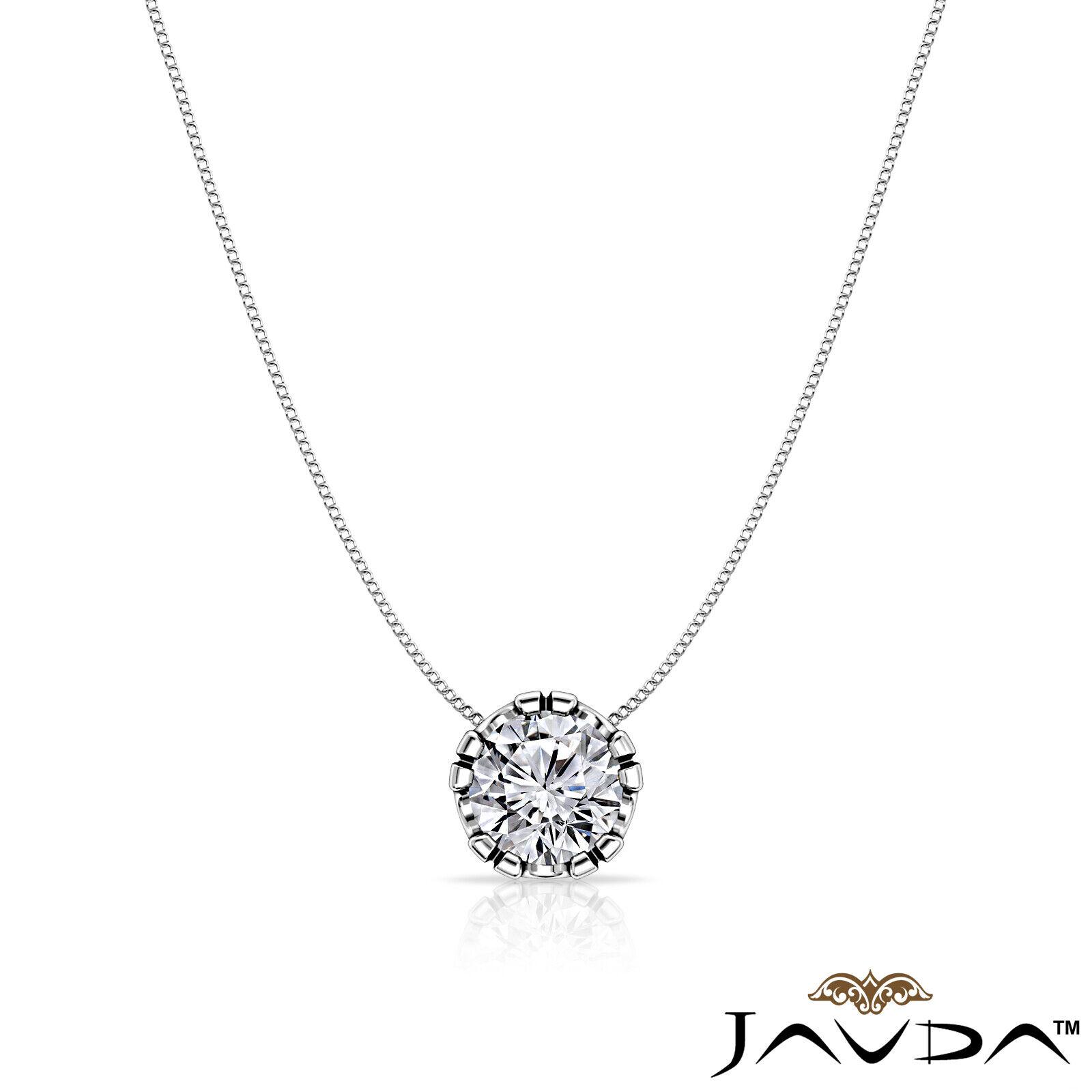 Solitaire Round Shape Diamond Double Prong Pendant 18 Inch Rolo Chain 0.26 ctw. 2