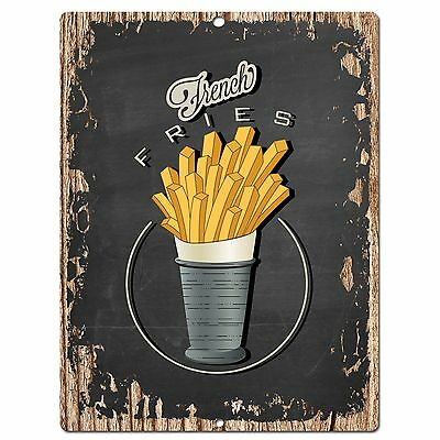 Restaurant Decor - PP0504 French Fries Plate Chic Sign Bar Store Shop Cafe Restaurant Kitchen Decor
