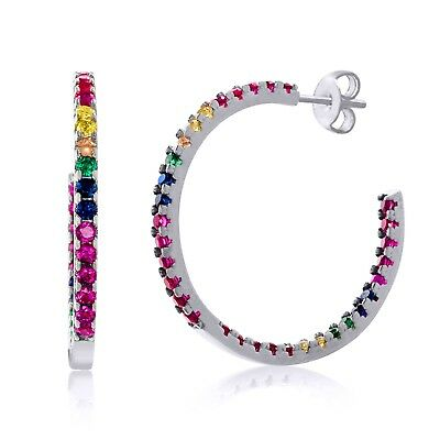 Multi Color Rainbow Round Hoop Earrings 14K White Gold Filled with Swarovski