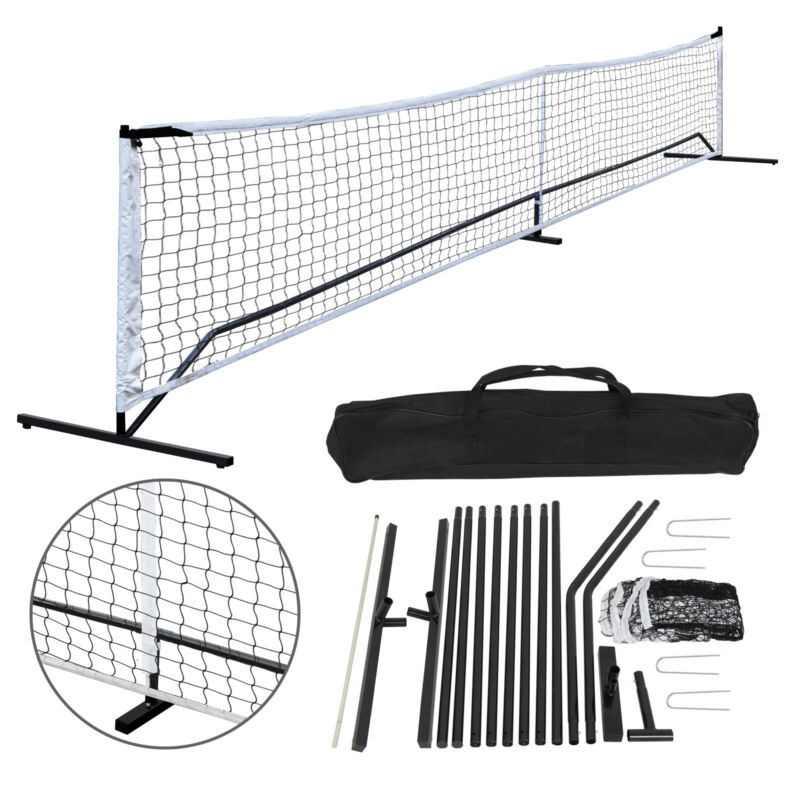 22FT Portable Pickleball Tennis Net W/Stand & Net &Carry Bag Steel Poles Outdoor
