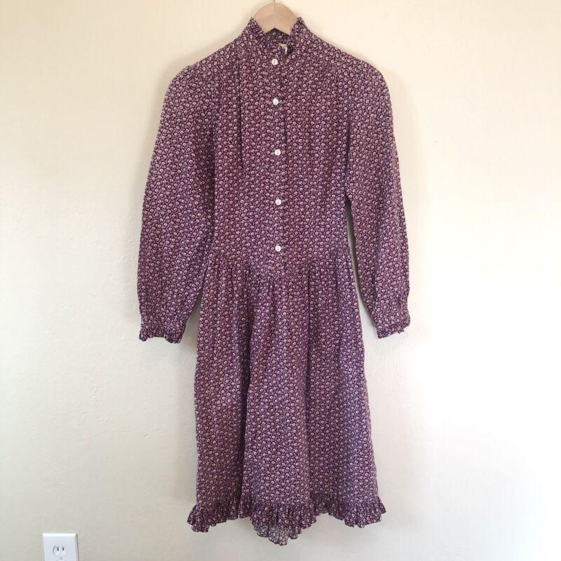 Vtg 70s Aileen West Prairie Calico Cottagecore Purple Ruffle Floral Dress XS