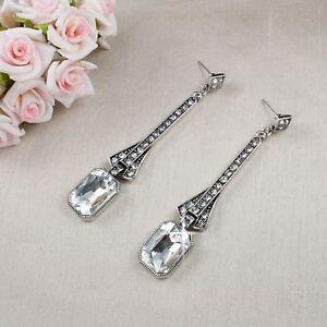 E15 Long Art Deco Gatsby 1920s Style Clear Crystal Stud Dangle Earrings