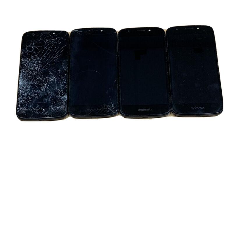 MOTOROLA E5 CRUISE (XT1921-2) DARK BLUE CRICKET WIRELESS ~ 4 PHONE LOT FOR PARTS