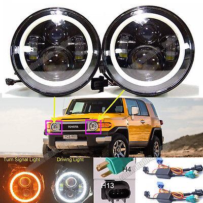 "For Toyota FJ Cruiser 07-14 7"" LED Halo Angel Eyes Headlight H4-H13 H6024 DRL 2x"