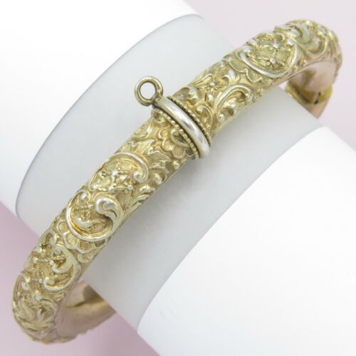 Antique Victorian 800 Silver Repousse Georg Adam Scheid Charm Bangle Bracelet