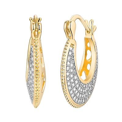 Gold Plated Two-Tone & Swarovski Crystal Heart-Cut-Out Basket Hoop - Cut Out Heart Earrings