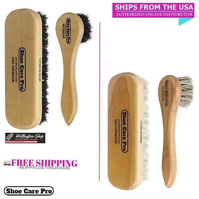 Shoe Shine Brush with Shoe Polish Applicator. 100% Horsehair Dauber. Shine - Horsehair Polish
