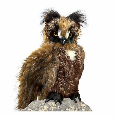 Folkmanis Furry Great Horned Brown Owl Bird Forest Nursery Plush Hand Puppet ()
