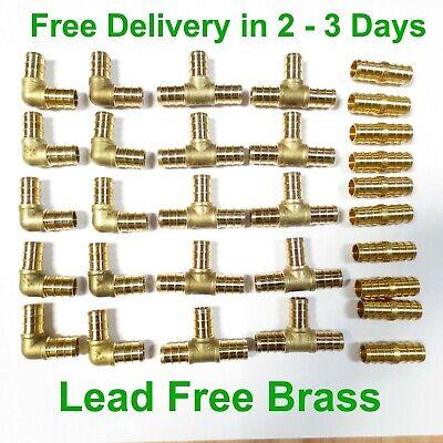 30 12 Lead Free Brass Pex Fitting 10 Each Elbow Coupler Tee - Crimp Cinch