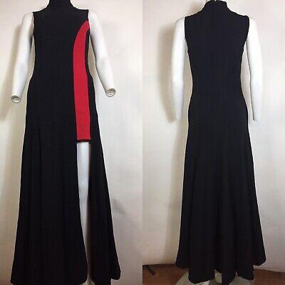 Rare Vtg Versace Black & Red Slit Maxi Dress XS 38