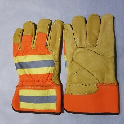 4 Pair Insulated Leather Gloves Safety Size Large Great Value Free Shipping