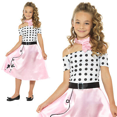 Poodle Dress Costume (50s Poodle Girls Costume Rock n Roll Childrens Kids 1950s Fancy Dress)