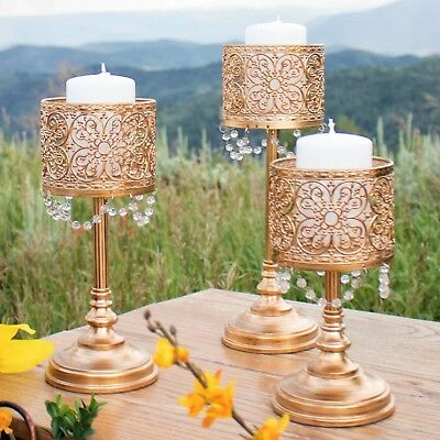 Pillar Candle Holder Centerpiece - 3-Piece Antique Gold Hurricane Pillar Candle Holder Set Home Accent Centerpiece