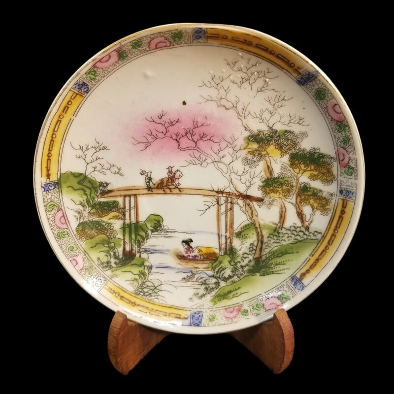 Antique Vintage Japanese plate Handmade Painted Gold trim Small Plate saucer