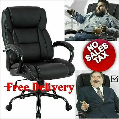 Big And Tall Office Chair Desk Leather Executive Extra Wide Seat 500 Lb Capacity