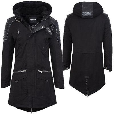 Winter jacke herren mantel herrenjacke parka schwarz kapuze lang warm H-102 NEU