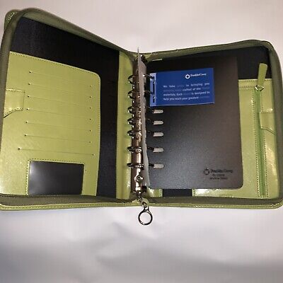 Compact Franklin Covey Green Leather Rings Zip Plannerbinder Never Used