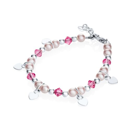 Sterling Silver Hanging Hearts Bracelet with Swarovski Pink Pearls and Crystals