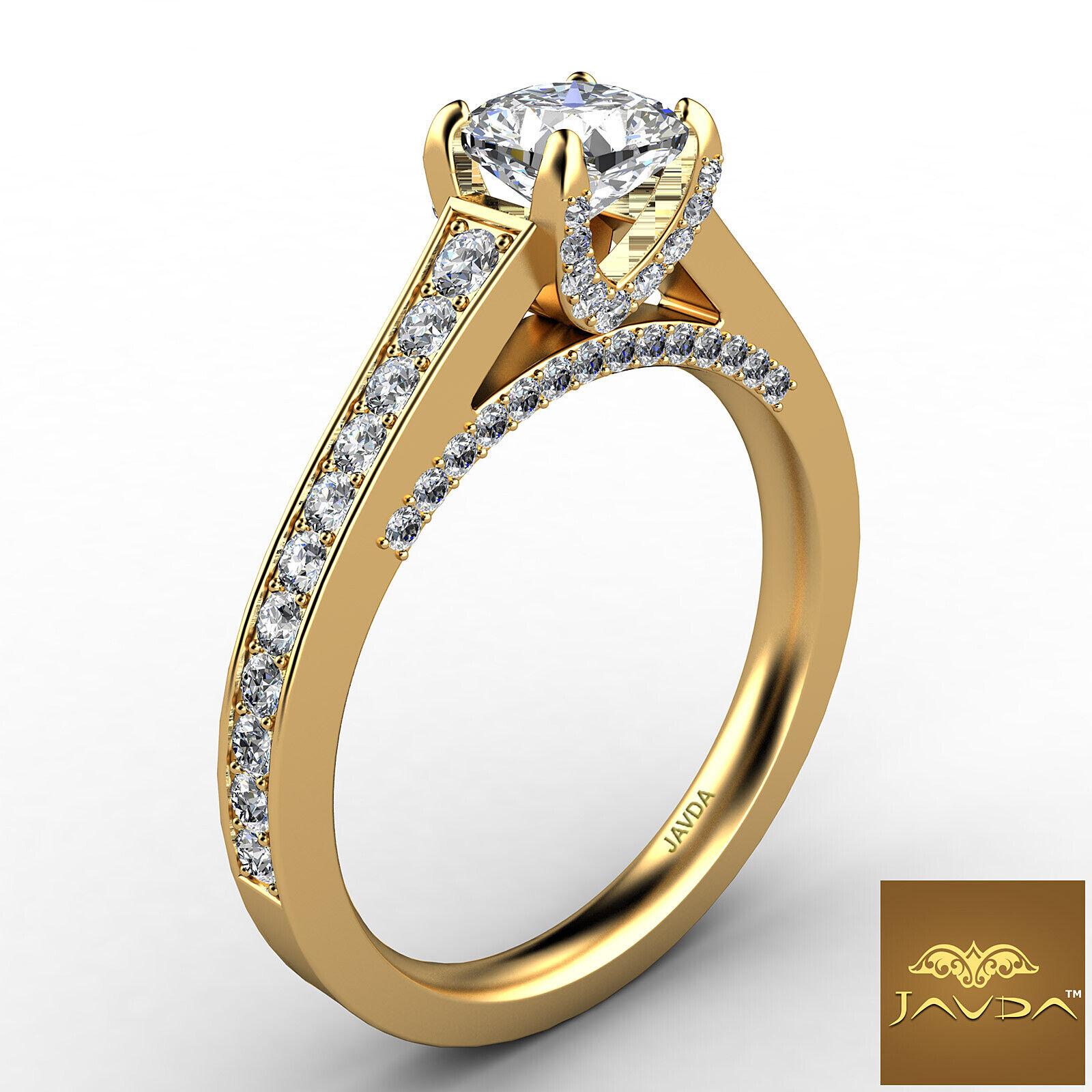 Cushion Cut Diamond Flawless Engagement GIA G VVS2 Pave Set Ring Platinum 1.25Ct 6