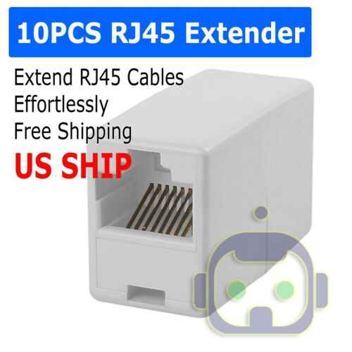 10x RJ45 Cat5e Coupler Joiner Adapter Extender Network Broadband Cable Connector