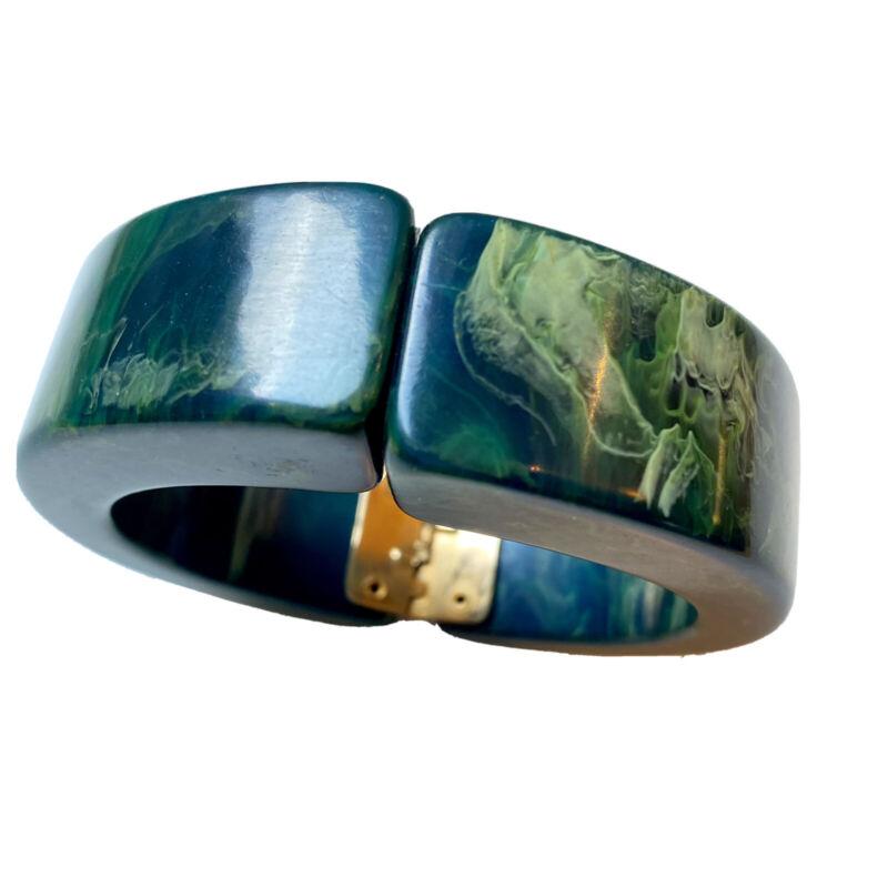 Blue Moon Bakelite Hinged, Clamper Bracelet