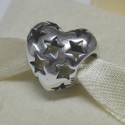 New Authentic Pandora Charm Starry Heart 791393 Sterling Silver Box Included