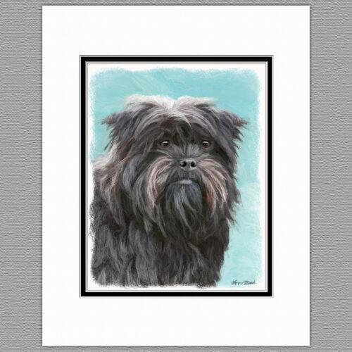 Affenpincher Dog Original Art Print 8x10 Matted to 11x14
