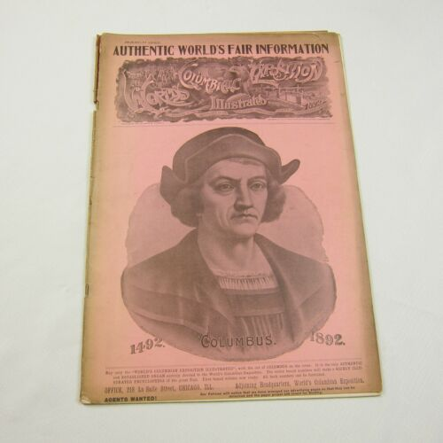 Antique 1892 Worlds Columbian Exposition Illustrated Journal Chicago Worlds Fair
