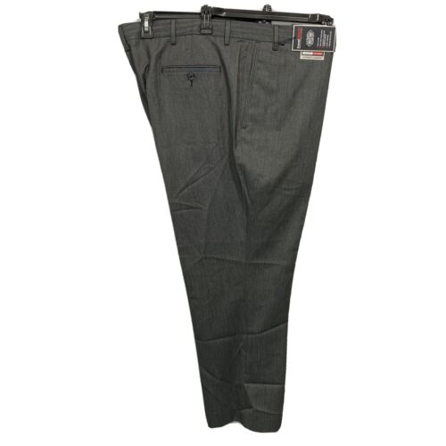 Roundtree & Yorke Travel Smart Classic Fit Flat Front Pants 44×32 Black Clothing, Shoes & Accessories