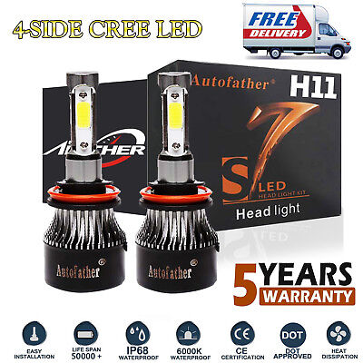 4-Sides H11 H9 H8 LED Headlight Kit 6000K Bulbs 1380W High or Low Beam Bright US