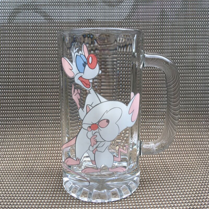 Vintage 1999 Warner Brothers Animaniacs Pinky and The Brain Stein Beer Glass Mug