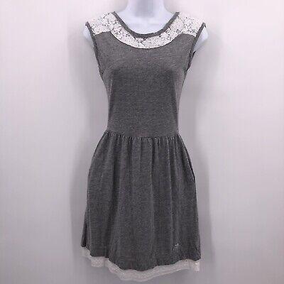 SuperDry Vintage Sz XS Gray Dress Sleeveless Open Back White Crochet Lace