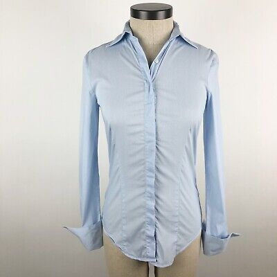 Zara Basic Womens Button Front Shirt Top Size XS Blue White Striped Long Sleeve