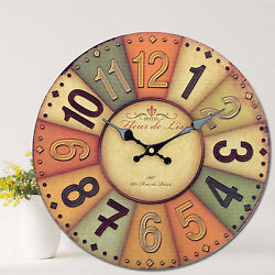 Large Vintage Rustic Style Painted Wooden Wall Clock Home Decor Unique Gifts Hot