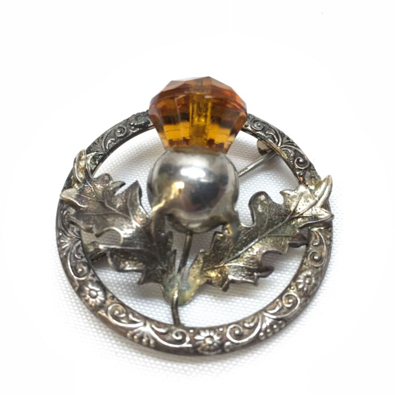 Vintage Sterling Silver Brooch Pin with Thistle and Amber Stone