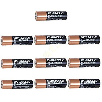 10 x DURACELL Plus AA MN1500 LR6 Batteries 1.5V ALKALINE Stilo/ Mignon Duracell Plus Aa Batteries